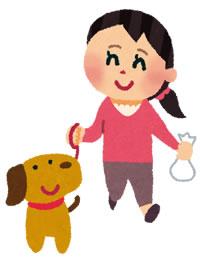 妻の犬の散歩