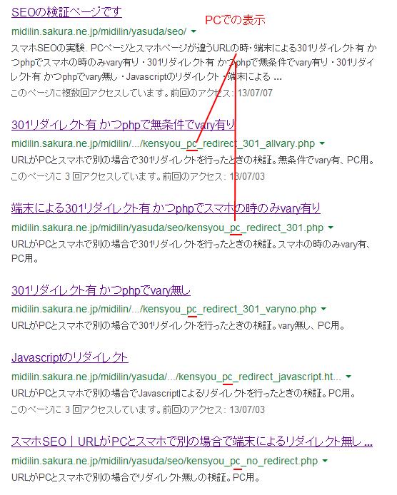 PCでのgoogleの表示結果