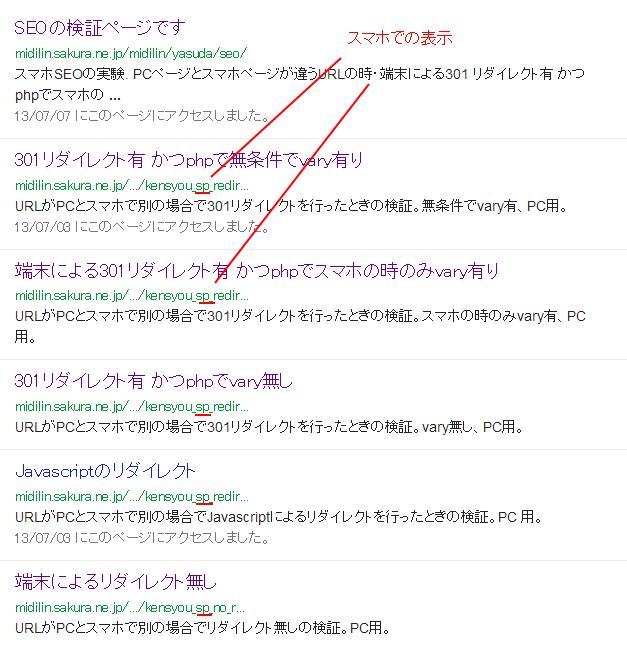 スマホでのgoogleの表示結果